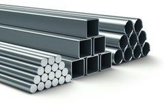 Rostfritt stål. Grupp av rullande metall. royaltyfri illustrationer