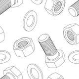 Rostfritt stålbult och mutter stock illustrationer