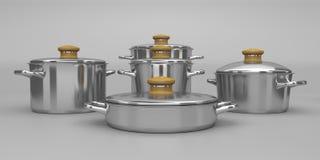 Rostfritt stålkrukor royaltyfri illustrationer