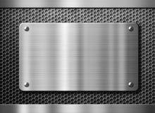 Rostfritt stålmetallplatta eller nameboard arkivbilder