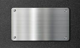 Rostfritt stålmetallplatta på svart textur vektor illustrationer