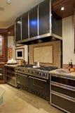Rostfritt stålugnspis i kök royaltyfria foton