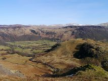 Rosthwaite in Borrowdale. Glorious spring morning in Borrowdale, Lake District Royalty Free Stock Photo