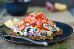 Rosti with Salmon Royalty Free Stock Photography