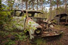 Rostig övergiven bil i skog Arkivbilder
