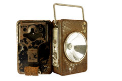 rostig batterilampa Arkivbilder