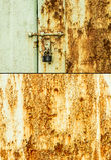 Rostig dörr och lås Royaltyfri Bild