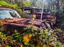 Rostig, gammal kastad bil i träna Arkivfoton