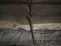 Rostig grov spik i en kedja royaltyfri fotografi