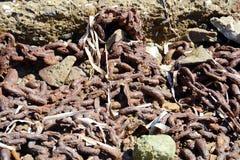 Rostig kedja, mineraler, abstrakt bakgrund Royaltyfri Bild