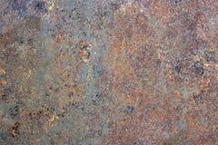 Rostig målad metalltextur, gammal järnyttersida med sjaskig sprucken målarfärg och skrapor, abstrakt grungebakgrund, texturerad w arkivbild