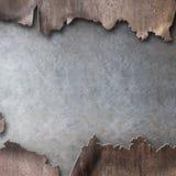 Rostig metall med sönderriven bakgrund för hålångapunkrock stock illustrationer