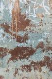 Rostig metallyttersida med blåttmålarfärg Fotografering för Bildbyråer