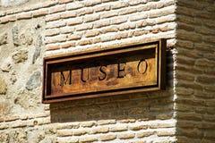Rostig platta med ordet Museo Royaltyfria Foton