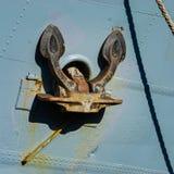 Rostig sikt för skeppankarcloseup arkivfoton