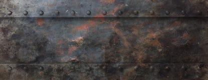 Rostig svart metallplatta med bultbakgrund, baner illustration 3d stock illustrationer