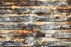 rostig textur för bakgrundsmetall Rostad sändningsbehållare med gamla lager av målarfärg Arkivbilder
