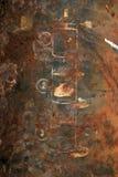 Rostig yttersida av den järn drog intrigen Royaltyfri Foto