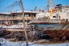Rostiga övergav flodskepp Royaltyfria Foton