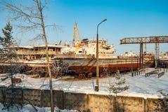 Rostiga övergav flodskepp Royaltyfri Foto