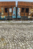 rostiga drevvagnar Fotografering för Bildbyråer