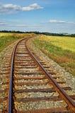 Rostiga järnvägspår på en järnväg invallning mellan ängar Arkivbild