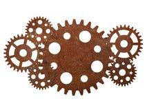 Rostiga kugghjul och kugghjul Arkivbild