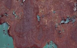 Rostige braune Eisenbeschaffenheit, blauer alter Zaun mit der Schale der Farbe r vektor abbildung