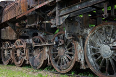Rostige Dampflokomotivräder Lizenzfreies Stockfoto