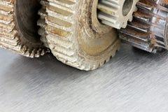 Rostige Gangzahnräder als Teile industrielle Maschinen Makro Stockfoto