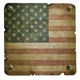 Rostige Metallplatte mit amerikanischer Flagge Stockfoto