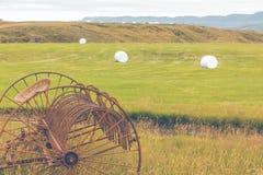 Rostige Pflüge auf einem Feld von Island Lizenzfreies Stockfoto