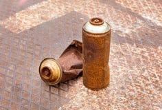 Rostige Spraydosen Stockbild