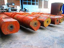 Rostige Stahlzylinder Stockfoto