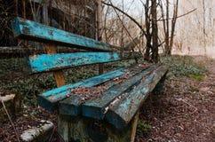 Rostige und alte Bank an der Geisterstadt Tschornobyl, Ukraine Lizenzfreie Stockfotos