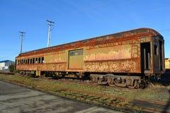 Rostiger alter Zugwagen Stockfoto