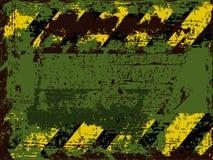Rostiger schäbiger Hintergrund des Vektors mit verwittert warnt gegen Schwarzes mit orange Streifen stock abbildung
