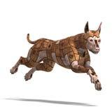 Rostiger Scifihund der future.3D Wiedergabe mit Stockfoto