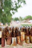 Rostiger Verschluss wird mit einem großen rostigen Riemen als schönes natur gehangen lizenzfreie stockbilder