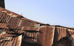 Rostiges Dach des Schadens der Fabrik Lizenzfreie Stockfotos