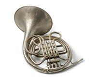 Rostiges französisches Horn der alten Weinlese stockbilder