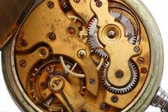 Rostiges Gangmakro der alten Uhr Stockfoto