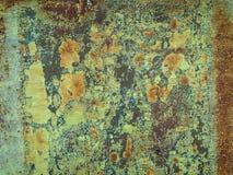 Rostiges Metall mit grüner Farbe Stockfotografie