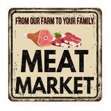 Rostiges Metallschild der Fleischmarkt-Weinlese Stockbilder