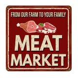 Rostiges Metallschild der Fleischmarkt-Weinlese Stockfoto