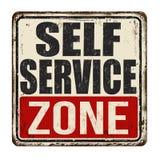 Rostiges Metallschild der Selbstservice-Zonenweinlese Stockfoto