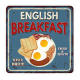 Rostiges Metallschild der Weinlese des englischen Frühstücks Stockfoto