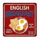 Rostiges Metallschild der Weinlese des englischen Frühstücks Lizenzfreie Stockfotos