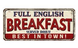 Rostiges Metallschild der Weinlese des vollen englischen Frühstücks Lizenzfreie Stockfotos