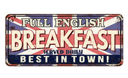 Rostiges Metallschild der Weinlese des vollen englischen Frühstücks Stockbild